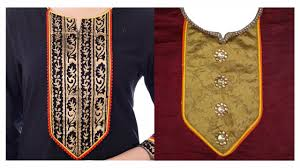 Piping Design On Clothes How To Cut And Stitch Designer Neckline With Double Piping On Long Square Neck And Lace
