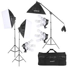 andoer studio photo softbox lighting kit photo equipment 15 45w bulb 3 5in1 bulb socket 3 softbox 3 light stand 1 cantilever stick