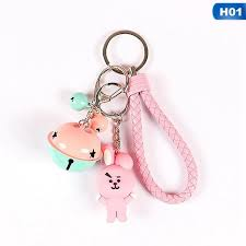 meiyang kpop bts bt21 cartoon keychain key holder chain bag pendant accessories keyring jewelry