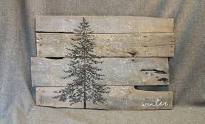pallet wall art pine tree winter decor snow by thewhitebirchstudio on wood pine tree wall art with pallet wall art pine tree winter decor snow reclaimed wood gray