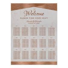 15 Table Seating Chart 15 Table Seating Chart Marble Copper Script Zazzle Com In