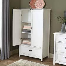 Armoire Wardrobe Storage Cabinet Countertops Elegant White Solid Wood  Cabinet Metal Pull Handle Oak Hardwood Flooring White Fur Area Rug Grey  Wall Paint ...