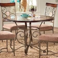 steve silver company thompson round dining table in metal and cherry