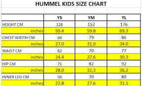 Chart Cm To Inches Hummel Kids Size Chart Jpg