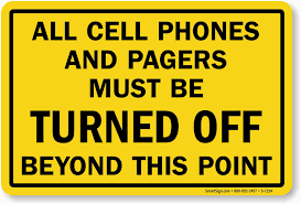 All Cellphones Must Be Turned Off Sign Sku S 7224