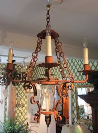 antique wrought iron spanish electric natural light chandelier