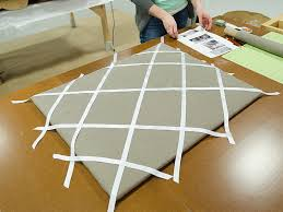 arrange the ribbons on the board in a criss cross pattern