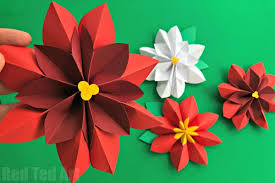 Paper Flower Christmas Tree Easy Paper Flowers Poinsettia Red Ted Arts Blog