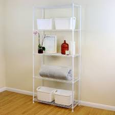 5 tier white metal storage rack shelving wire shelf kitchen office unit 200cm
