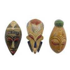 african wood masks wisdom and happiness set of 3 set