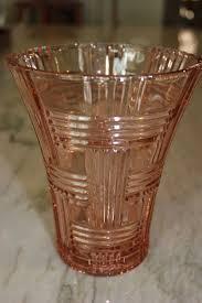 details about vintage pink depression glass basket weave vase anchor hocking prismatic vg