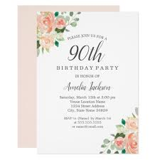 Peach Blush Watercolor Floral 90th Birthday Party Invitation