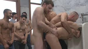 Outdoors gay gang bang