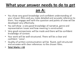 essay workshop  objective explore techniques to answer essay    what your answer needs to do to get an a  you show very good knowledge