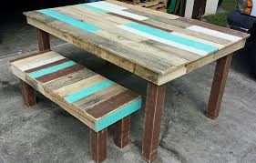 diy pallet dining table with a matching bench