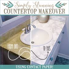 transform your bathroom for only a few dollars with a contact paper countertop you