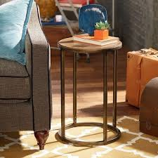 hammary soho round end table khaki travertine finish oil rubbed bronze legs open base design wood tabletop small dimensions 210