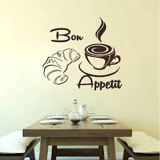 Bon Appetit Wall Decor Plaques Signs Bon Appetit Wall Decor Wall Decal Croissant Coffee Cup Kitchen 31
