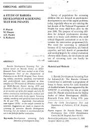 Pdf A Study Of Baroda Development Screening Test For Infants