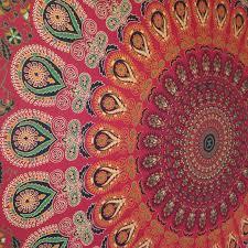 red peacock mandala wall hanging throw tapestry bed sheet