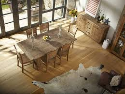 image of country distressed wood dining table