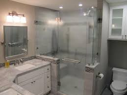 bathroom box  nice glass shower bathroom set on corner also wall lamp above mirror and lighting ceiling in
