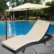 adjule pool chaise lounge chair outdoor patio furniture pe wicker w cushion