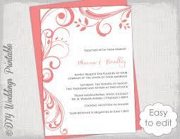 coral wedding invitation template scroll Wedding Invitation Kits Coral coral wedding invitation template \