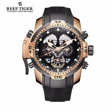aliexpress com buy reef tiger rt designer watches for men big reef tiger rt designer watches for men big dial complicated watch perpetual calendar rubber