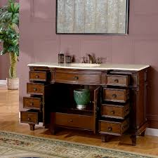 Bathroom Single Vanity Silkroad Exclusive 60 Inch Bathroom Single Sink Vanity Chestnut Finish