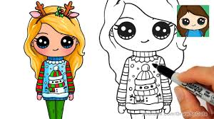 How To Draw A Cute Girl In Christmas Ugly Sweater Youtube