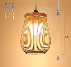 bamboo pendant lighting. Kiven Plug-In Modern Simple Bamboo Art Pendant Lamp E26 Base Dimmable 15 Foot Transparent Cord With Dimmer Switch Bulb Not Included Ul Listed, Lighting