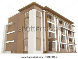 office exterior design. Side Of Wooden Office Building Exterior Design In White Background, Create By 3D L