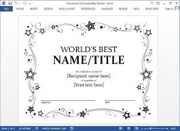 Awards Template Word