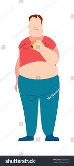 Fat Man Character Design Fat Man Eating Fast Food Vector Stock Vector Royalty Free