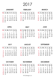 Nyc Design Calendar 2017 Calendar Printable Free White Monday Start