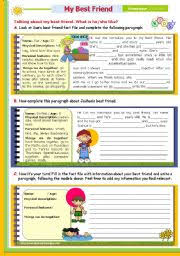 english teaching worksheets friendship  my best friend 7th in this writing series for upper elementary and lower intermediate studenys level elementary age 10 12 s 1267