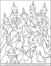 Glorious Mysteries Rosary Coloring Pages 3rd Descent Of The Holy
