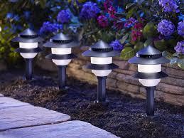moonrays solar path lights in tiered design low voltage 10 fixture kit black landscape pathlights com