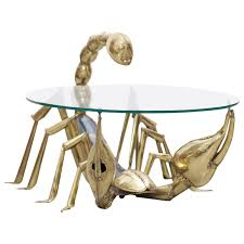 Antique Brass Glass Coffee Table Rare Illuminated Brass Scorpion Coffee Table By Jacques Duval