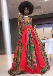 African Pattern Dress Inspiration Red Floral African Patterns Print Long Sleeve Floor Length African