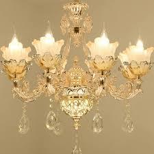 golden crystal chandelier 6 lights pendant ceiling lamp