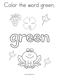 Color the word green Coloring Page - Twisty Noodle