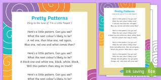 Pattern Song New Pretty Patterns Song EYFS Patterns Pattern Repeat