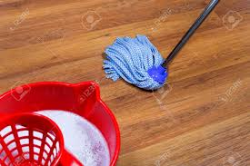 Red Bucket With Water And Mopping Of Laminate Floors Stock Photo   21125578