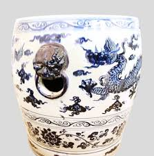 chinese porcelain garden stool blue and