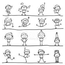 Mano Disegno Bambini Felici Di Personaggio Dei Cartoni Animati Stock
