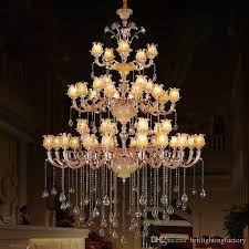 hotel light candelabro extra long large chandelier villa living room staircase crystal chandelier res crystal white candle holders lamp kitchen