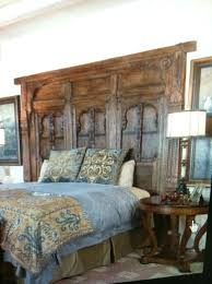 old door headboard diy with lights king size made out of doors