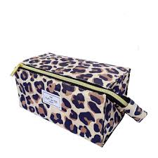 flat makeup box bag leopard print